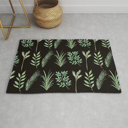Bouquet of branches and leaves pattern,  Black background Rug