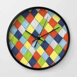 Doodle style bright hand drawn harlequin pattern. Wall Clock