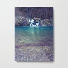 Teal Blue Waterfall Cove Metal Print