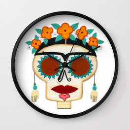 Frida Skelly with Earrings Wall Clock