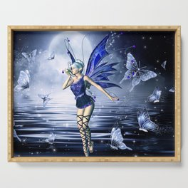 Blue Fairy and Butterflies Serving Tray