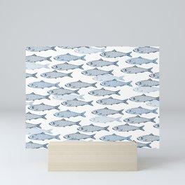 Schooling Fish - White Mini Art Print