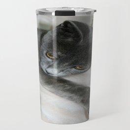 Cute Grey Kitten Relaxing  Travel Mug