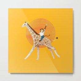 Giraffe and Monkey | Illustration | Yellow Metal Print