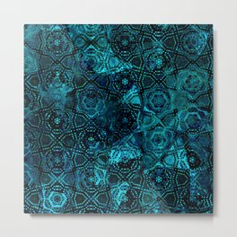 Starry Deep Blue Night Sky , Abstract Geometric Pattern with Moon Lit Domino Stars Metal Print