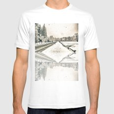 Yosemite Snowy Meadow Mens Fitted Tee White MEDIUM