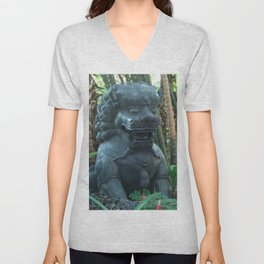 Lion Statue in the Tropics Photography Unisex V-Neck