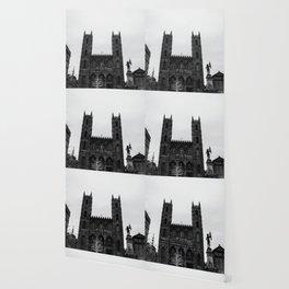 notre-dame basilica in grey Wallpaper