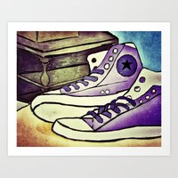 converse Art Prints featuring Converse by April H