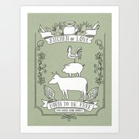 vegetarian Art Prints featuring Vegetarian by Dani Purper