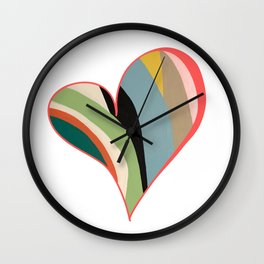 Big Hearted, Big Love, Colorful Heart Painting by Christie Olstad Wall Clock