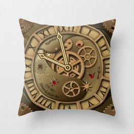 Steampunk clock gold Throw Pillow