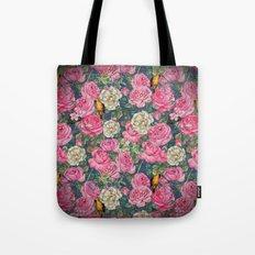 Vintage grunge Floral Rose and Birds Pattern on #Society6 Tote Bag
