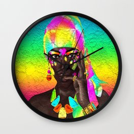 Beautiful African woman in a colorful head scarf Wall Clock