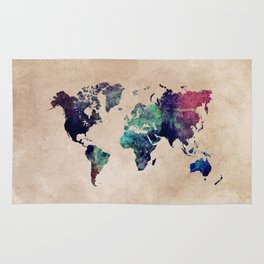 Cold World Map Rug