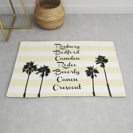 Beverly Hills Street Names Palm Trees Yellow Stripes Rug