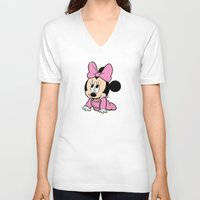 minnie mouse V-neck T-shirts featuring Cute baby Minnie Mouse by Yuliya L