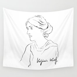 Virginia Woolf Portrait with Signature Wall Tapestry