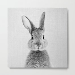 Rabbit - Black & White Metal Print