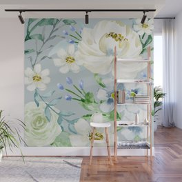White and Blue Flowers Wall Mural