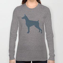 Doberman Pinscher Silhouette - blue Long Sleeve T-shirt