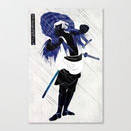 Blue Rain Samurai Canvas Print