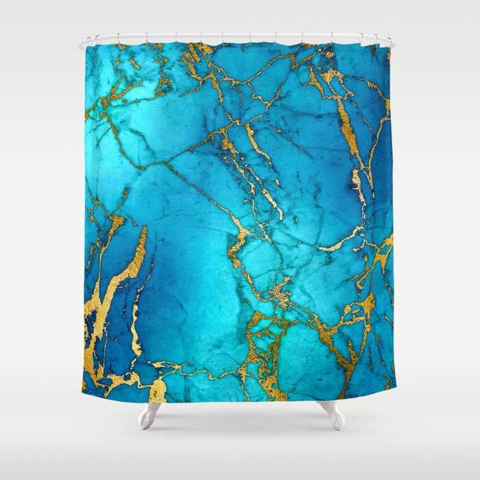 Gold And Teal Blue Indigo Malachite Marble Shower Curtain