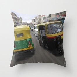 Rickshaws in Bangalore Throw Pillow
