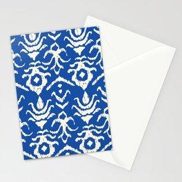 Blue Ikat Damask Print Stationery Cards