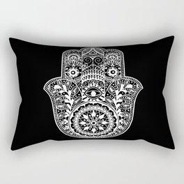 Black and White Hamsa Hand Rectangular Pillow