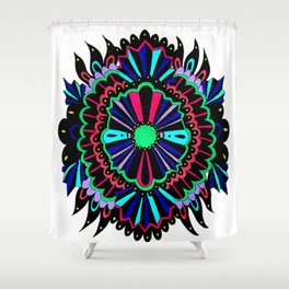 Neon Lace Peony Shower Curtain