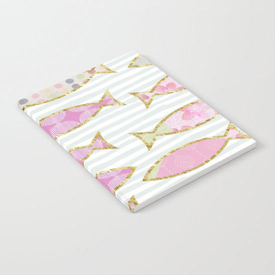 Fancy Fish pastel patchwork pattern Notebook