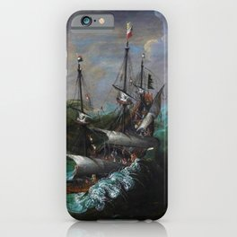New England Ships and Whales in a Tempest by by Hendrick Cornelisz Vroom iPhone Case