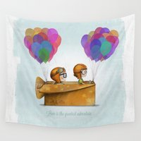 cartoons Wall Tapestries featuring UP Pixar — Love is the greatest adventure  by Ciara Panacchia