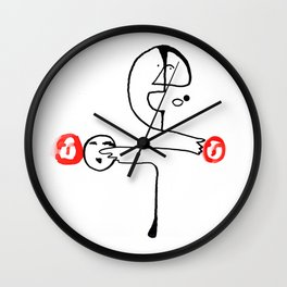 Man Pointing to Heads Wall Clock