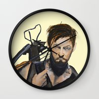 daryl dixon Wall Clocks featuring Daryl by Brittany Ketcham