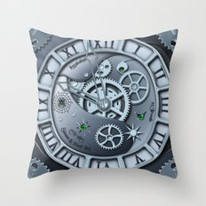 Steampunk clock silver Throw Pillow