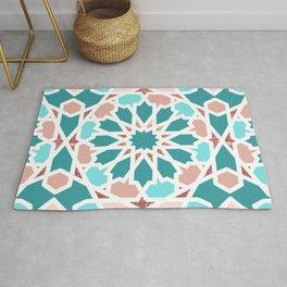 Geometric Arabic Pattern in Red Sea colors Rug