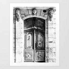 Doorway   Hotel de La Grange Nimes France Vintage Rustic Old World Black and White Architecture Art Print