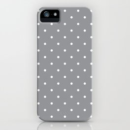 Small White Polka Dots with Grey Background iPhone Case