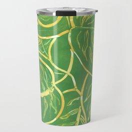 Yellow Green Leaf Monoprint Travel Mug