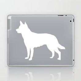 Australian Kelpie dog silhouette dog breed pattern grey and white kelpie dog Laptop & iPad Skin