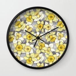 Daffodil Daze - yellow & grey daffodil illustration pattern Wall Clock