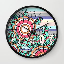 Doodle Art Three Flowers Vines with Stripes Wall Clock