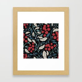 Holiday Holly and Mistletoe Pattern Framed Art Print