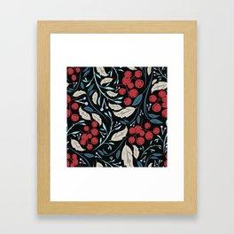 Holiday Holly and Mistletoe Pattern Framed Art Print