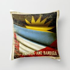 Grunge sticker of Antigua and Barbuda flag Throw Pillow