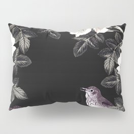 Blackberry Spring Garden Night - Birds and Bees on Black Pillow Sham