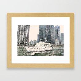 Boat Miami Beach Florida ArtWork Panting Framed Art Print