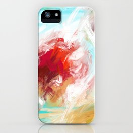 Center of Attraction Acrylic Abstract with Prominent Red and Green iPhone Case